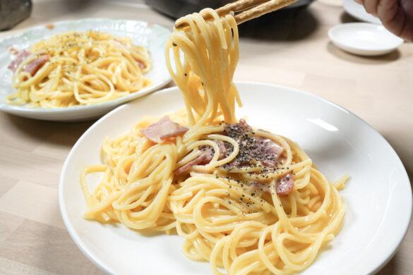 智能萬用鍋料理.奶油培根義大利麵料理